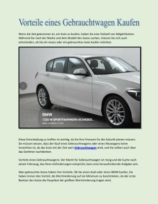Vorteile eines Gebrauchtwagen Kaufen