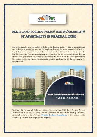 Delhi Land Pooling Policy and Availability of Apartments in Dwarka L Zone