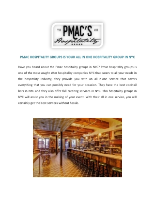 Hospitality Companies NYC   Cocktail Bars   PMac's Hospitality Group