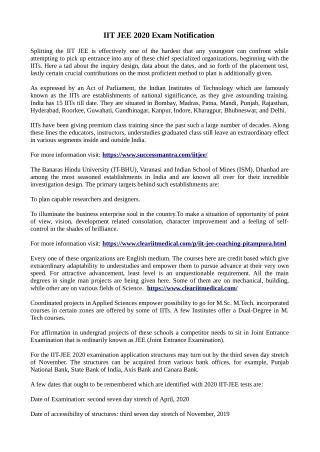 IIT JEE 2020 Exam Notification