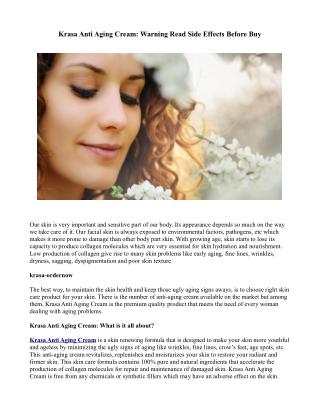 Krasa Anti Aging Cream Ingredients