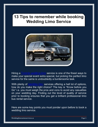 13 Tips to remember while booking Wedding Limo Service