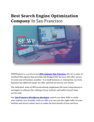 Best Search Engine Optimization Company In San Francisco