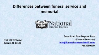 Differences between funeral service and memorial