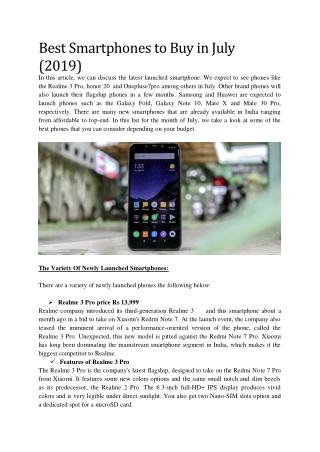 Best Smartphones to Buy in July (2019)