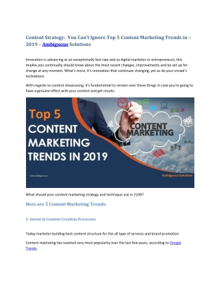 Content Strategy: You Can't Ignore Top 5 Content Marketing Trends in – 2019 – Ambiguous Solutions in India