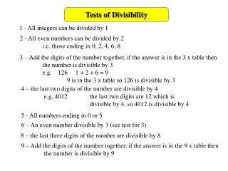 Tests of Divisibility