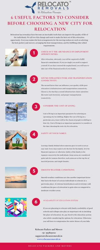 6 Useful Factors to Consider Before Choosing a New City for Relocation