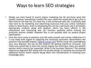 Ways to learn SEO strategies