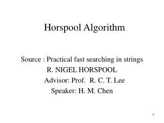 Horspool Algorithm