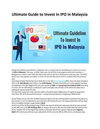 Ultimate Guideline To Invest in IPO in Malaysia