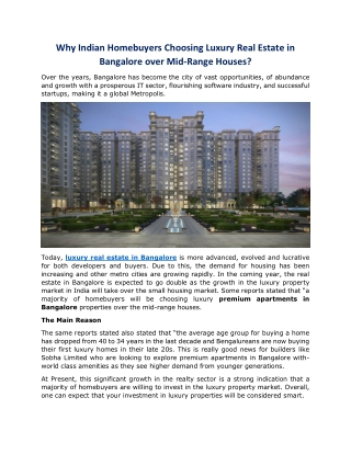 Why Indian Homebuyers Choosing Luxury Real Estate in Bangalore over Mid-Range Houses?
