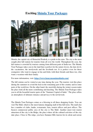 Exciting Shimla Tour Packages