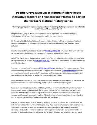 Pacific Grove Museum of Natural History hosts innovative leaders of Think Beyond Plastic