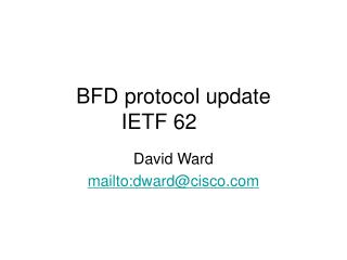 BFD protocol update IETF 62