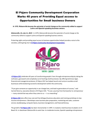 El Pájaro Community Development Corporation Marks 40 years of Providing Equal access to Opportunities