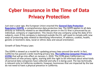Cyber Insurance in the Time of Data Privacy Protection