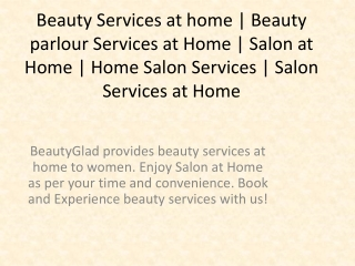 Beauty Services at Home in Noida, Salon Services at Home in Noida