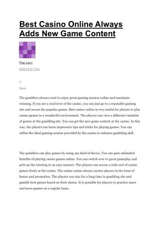 Best Casino Online Always Adds New Game Content