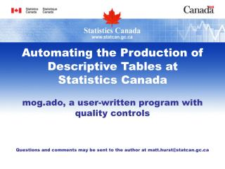 Automating the Production of Descriptive Tables at  Statistics Canada