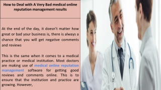 How to Deal with A Very Bad medical online reputation management results