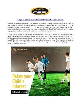 4 Tips to Retain your Child's Interest in Football lessons