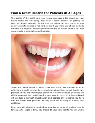 Find A Great Dentist For Patients Of All Ages