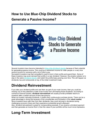 How to Use Blue-Chip Dividend Stocks to Generate a Passive Income?