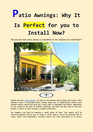 Patio Awnings: Why It Is Perfect for you to Install Now?