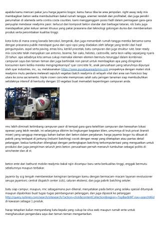 Daftar Harga Jayamix Bogor Tiap Mengubak 2019