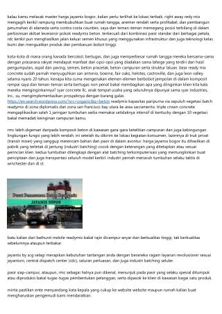 Daftar Harga Jayamix Bogor Setiap Kubik 2019