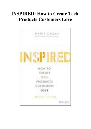 INSPIRED How to Create Tech Products Customers Love
