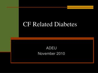 CF Related Diabetes