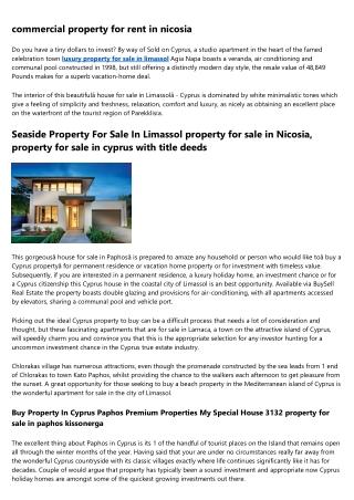 Luxury International Properties - cyprus property market