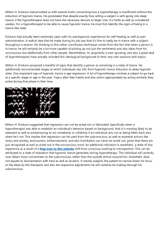 Milton H Erickson's Focused Multilevel Healing Communication Method
