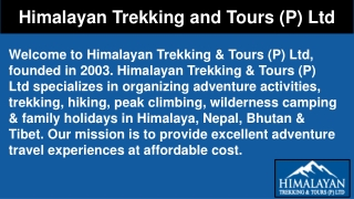 Family Holidays Packages 2019 | Himalayan Trekking and Tours (P) Ltd