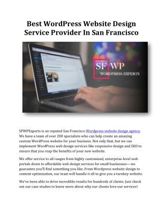 Best WordPress Website Design Service Provider In San Francisco