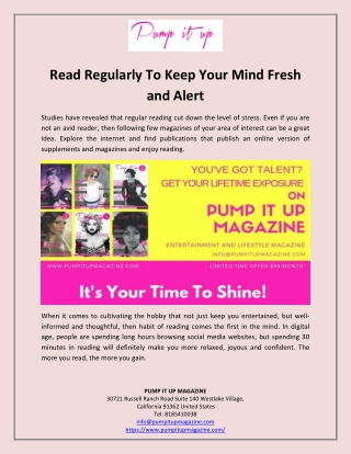 Read Regularly To Keep Your Mind Fresh and Alert