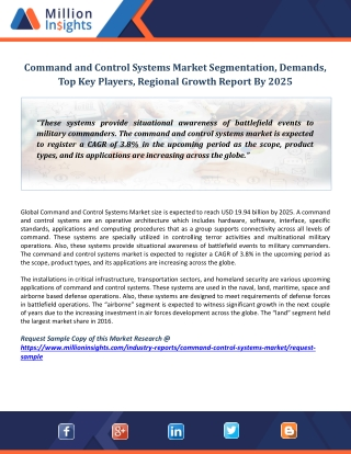 Command and Control Systems Market Segmentation, Demands, Top Key Players, Regional Growth Report By 2025