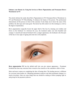 Brow pigmentation and permanent brows westchester in ny