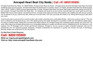 Amrapali Heart Beat City Noida | Call +91 8800195900