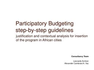 Participatory Budgeting step-by-step guidelines
