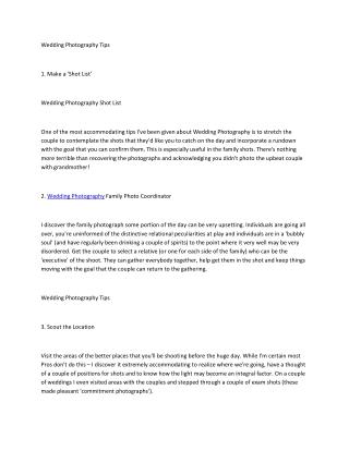 Instructions to Make Wedding Photography