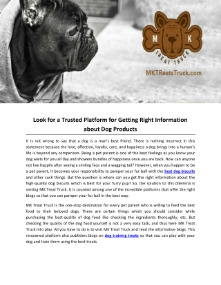 Look for a Trusted Platform for Getting Right Information about Dog Products
