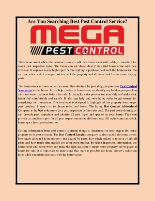 Are You Searching Best Pest Control Service?