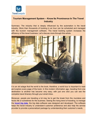 Tourism Management System – Know Its Prominence In The Travel Industry