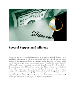 Spousal Support and Alimony