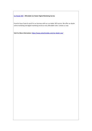 Car Dealer SEO - Affordable Car Dealer Digital Marketing Service