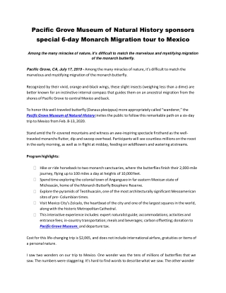 Pacific Grove Museum of Natural History sponsors special 6-day Monarch Migration tour to Mexico