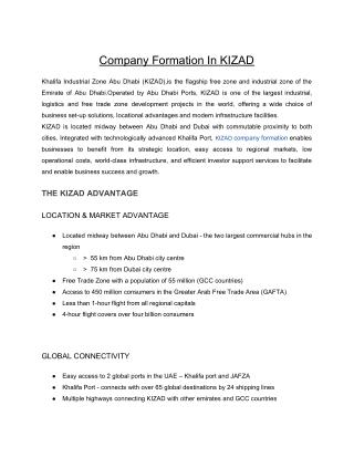 Company Formation In KIZAD